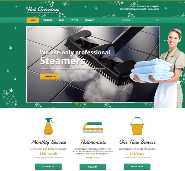 Шаблон Hot Cleaning от HotThemes